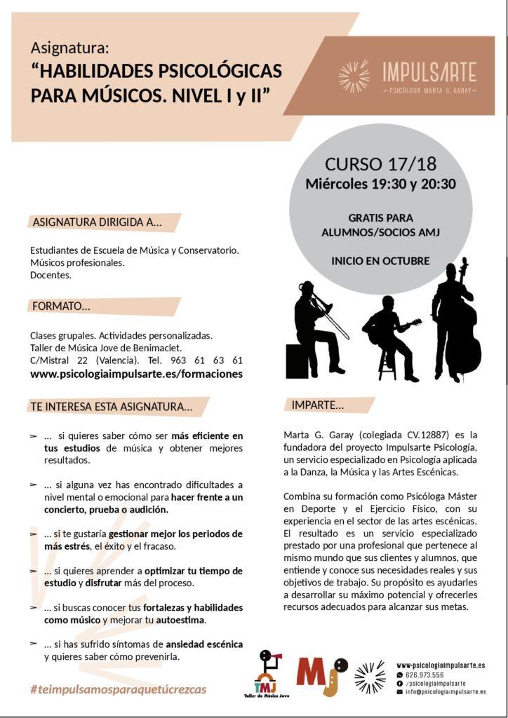habilidades psicológicas para músicos, tmj, taller de música jove, benimaclet, músicos valencia