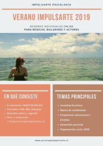 verano impulsarte, psicologia, sesiones online, marta g. garay, ansiedad escénica, danza, música, teatro